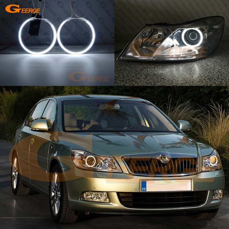 Excellent Ultra Bright Illumination CCFL Angel Eyes Kit Halo Ring For SKODA OCTAVIA MK2 A5 FL Facelift 2009 2010 2011 2012