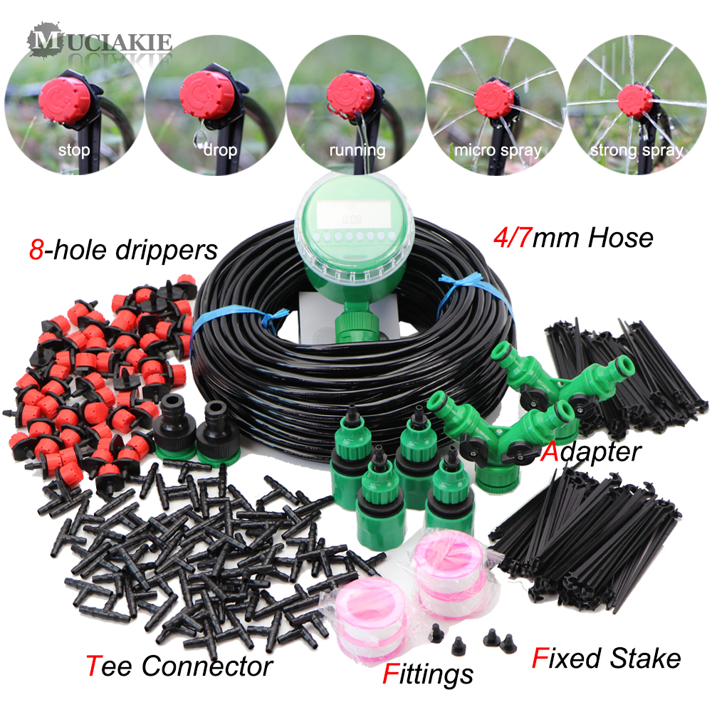 MUCIAKIE 5-50M Automatic Garden Watering Adjustable Drip Irrigation System Digital Water Timer Controller 4/7mm Micro Drop Kits