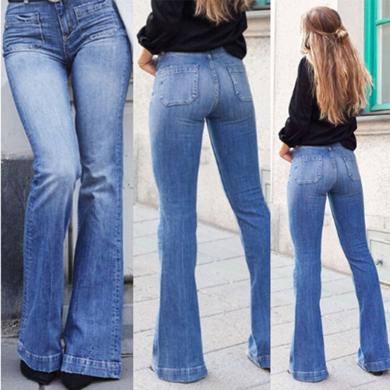 2019 Winter Flare Jeans High Waist Wash Denim Wide Leg Pants For Women Trousers Plus Size Bell Bottom Pants Skinny Joggers Women