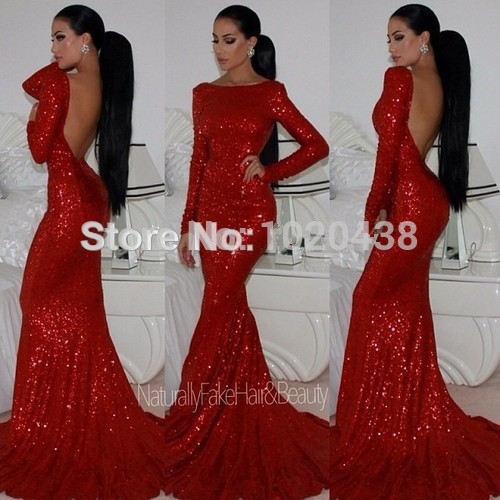 2018 Backless Sparkly High Neck Sequined Mermaid Red Prom Long Sleeves Sexy Long Formal Evening Gown Mother Of The Bride Dresses