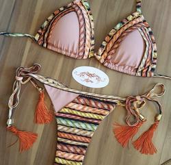 Sexy floral impressão micro biquíni 2020 mulheres de banho rendas até bandagem laranja push up tanga banho banho brasileiro