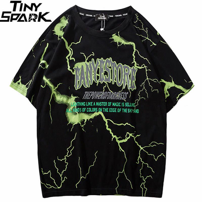 Tshirt Streetwear Tees Tops Short-Sleeve Dark-Lightning Harajuku Hip-Hop Mens Cotton