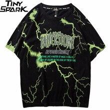 2019 T 셔츠 Mens 힙합 Dark Lightning Tshirt Streetwear 여름 코튼 하라주쿠 티셔츠 반소매 티셔츠 스트리트웨어