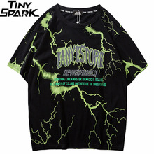 2019 T Shirt Mens Hip Hop Dark Lightning Tshirt Streetwear Summer Cotton Harajuku T Shirts Short Sleeve Tops Tees Street Wear