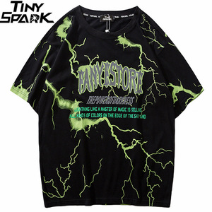 Image 1 - 2019 T Shirt Mens Hip Hop Dark Lightning Tshirt Streetwear Summer Cotton Harajuku T Shirts Short Sleeve Tops Tees Street Wear