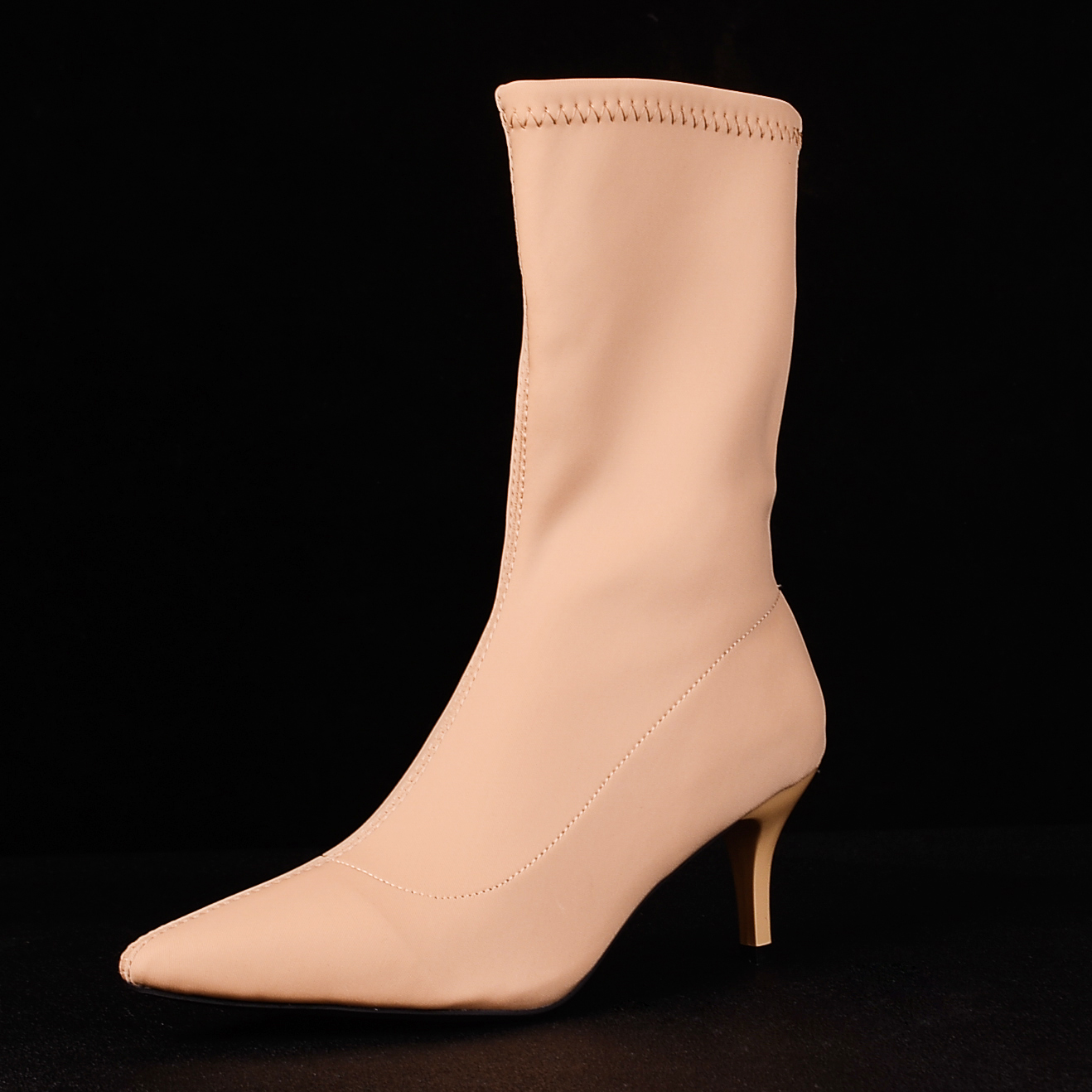 Black Beige Ankle Elastic Sock Boots Women 2019 Pointed Toe Thin Heel Boots Stretch Women Winter Shoes Sexy Booties Woman