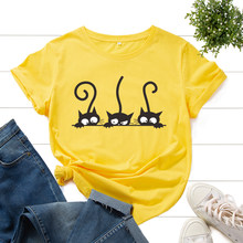 Graphic Tee for Women Cotton Print T Shirts Short Sleeve Crew Neck Summer Tops Female Clothes Three Cats Hipster Heart Cat Lover