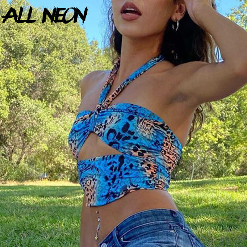Allneon Y2K Mode Camouflage Hollow Out Bandage Cropped Tops Punk Style Halter Backless Tank Tops Vintage Rave E-Meisje outfits