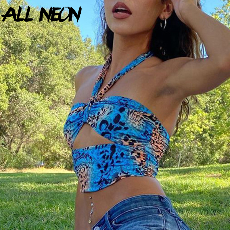 ALLNeon Y2K Mode Camouflage Aushöhlen Verband Cropped Tops Punk Stil Halter Backless Tank Tops Vintage Rave E-mädchen outfits