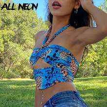 ALLNeon Y2K Fashion Camouflage Hollow Out Bandage Cropped Tops Punk Style Halter Backless Tank Tops Vintage Rave E-girl Outfits