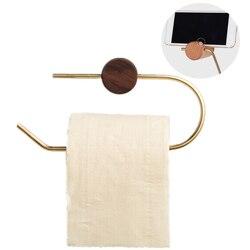Держатель в рулоне для ванной комнаты, латунь, твердая древесина, настенный держатель для салфеток, Золотой держатель для туалетной бумаги