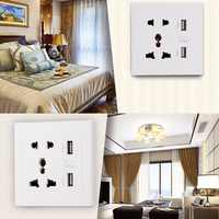 Dropshipping Dual USB Port Electric Wall Charger Dock Socket Power Outlet Panel Plate Hot Worldwide