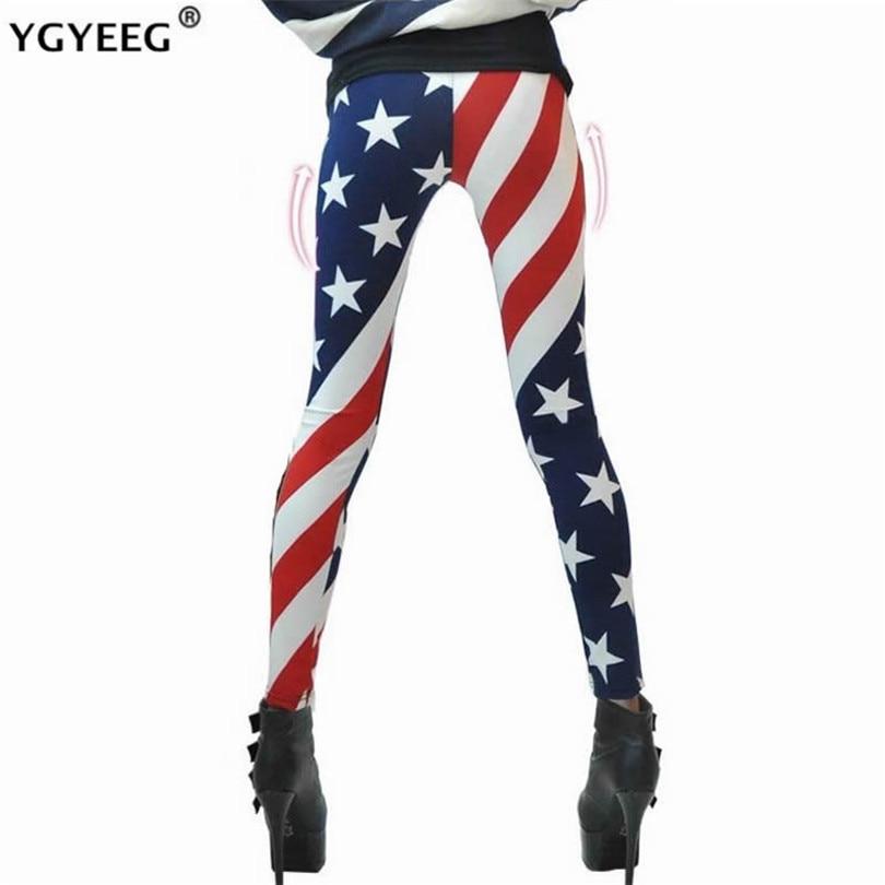 YGYEEG Milk Silk Leggings American Flag Woman Pants Printing Fashion Stripe Leggings Lady Ankle Slim Legging Girl Pencil Pants