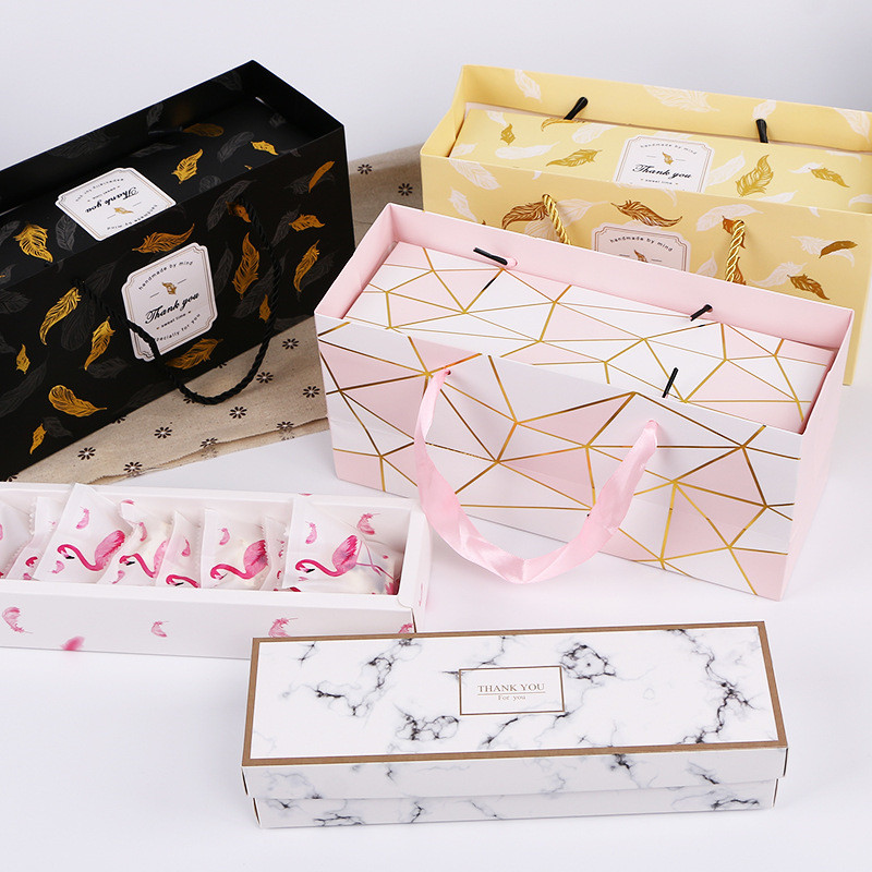 Creative Flamingo Gift Box Marble Paper Bag Dragee Cookies Tote Bags Wedding Chocolate Cake Packaging Paper Boxes Party Supplies