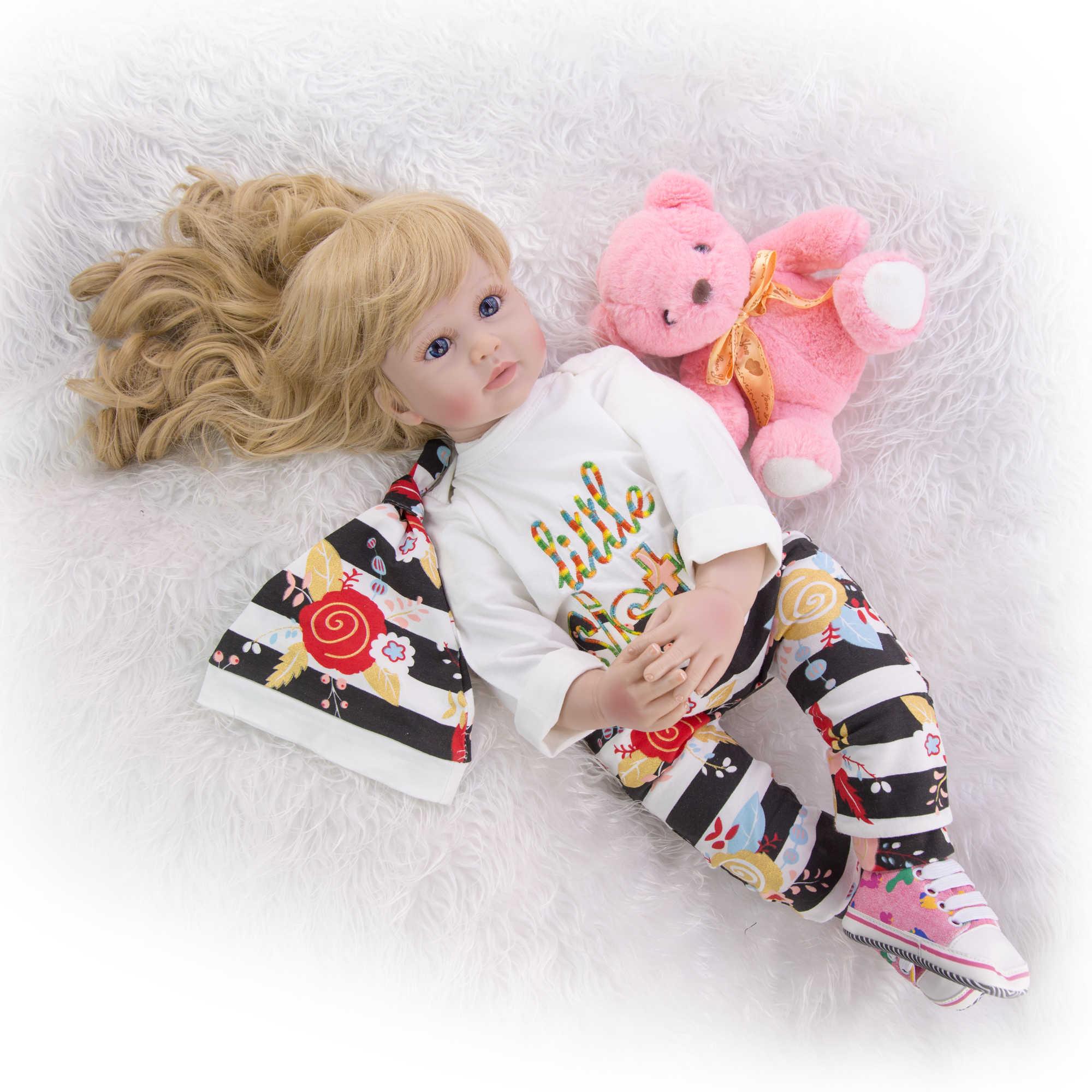 60 см силиконовая Мягкая виниловая Реалистичная кукла-младенец кукла принцессы с светлыми волосами для девочек Brinquedos подарок на день рождения игрушки куклы
