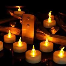 12 peças de controle remoto cintilação flameless led chá luz vela luz festa casamento candéis segurança decoração para casa
