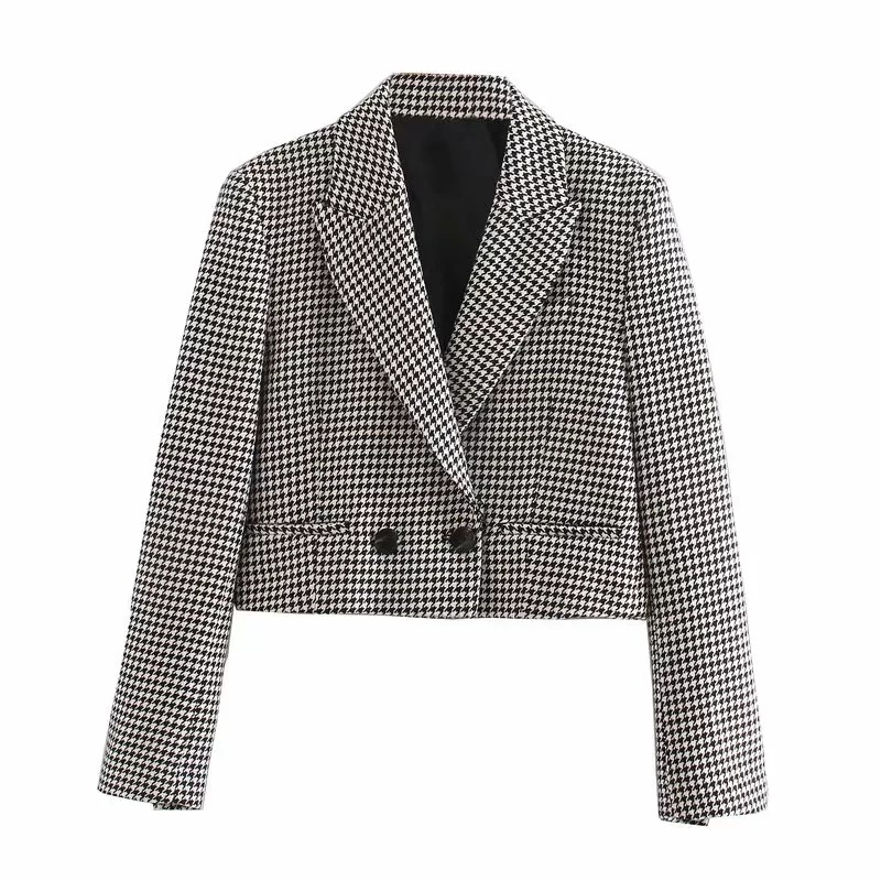 Fashion check short jacket feminine Spring 2020 new casual long-sleeved ladies blazer Fashion coat