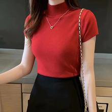 Women Soft Solid Turtleneck Sweater Tops Woman Basic Slim Short Sleeve Bottoming Knitted Sweaters Pullovers Female 2020 Spring