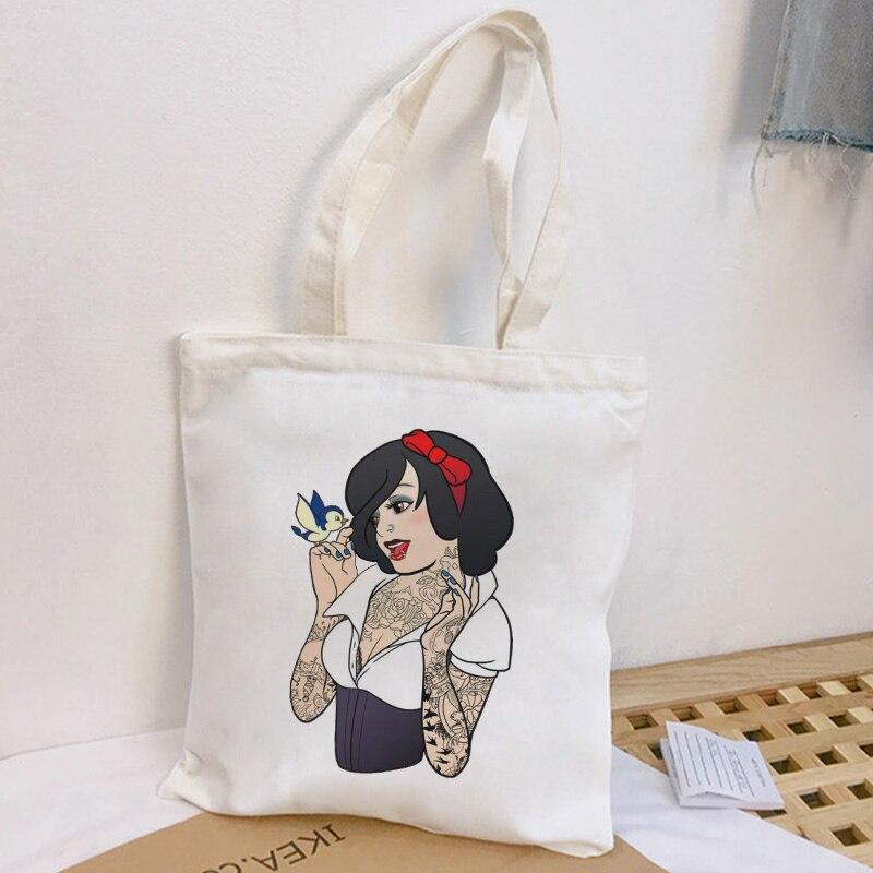 Tattooed Sexy Snow White Fashion Print Messenger Bag Harajuku Fun Large Shoulder Bags Casual Street Handbag New Women Bag Wallet