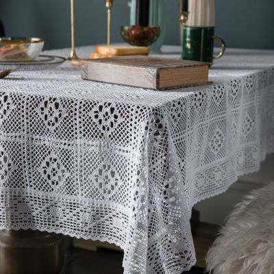 American country knitted white crochet tablecloth hollowed cotton coffee table cover towel