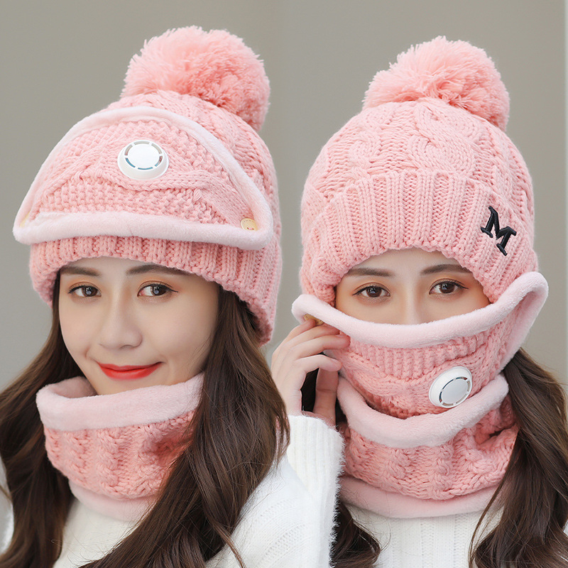 Зимняя велосипедная шапка для женщин, 3 предмета, теплые шерстяные шапочки, шапки с маской, ожерелье-воротник, женские бархатные толстые вяз...
