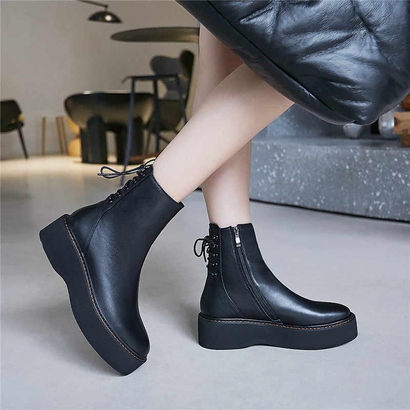 FEDONAS Özlü Kadın Hakiki Deri Platformu Tıknaz Topuklar Çizmeler Kış sıcak parti ayakkabıları Kadın Punk Kadın Fermuar yarım çizmeler