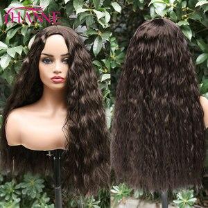 Image 3 - Perucas de cabelo resistentes ao calor naturais da onda profunda de brown escuro perucas onduladas longas da peruca sintética de hanne para preto/branco