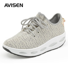 Women Fashion Sports Shoes Fashion Height Increasing Wedges Sneakers Mesh Breathable Autumn Lace-Up Platform Shoes Woman