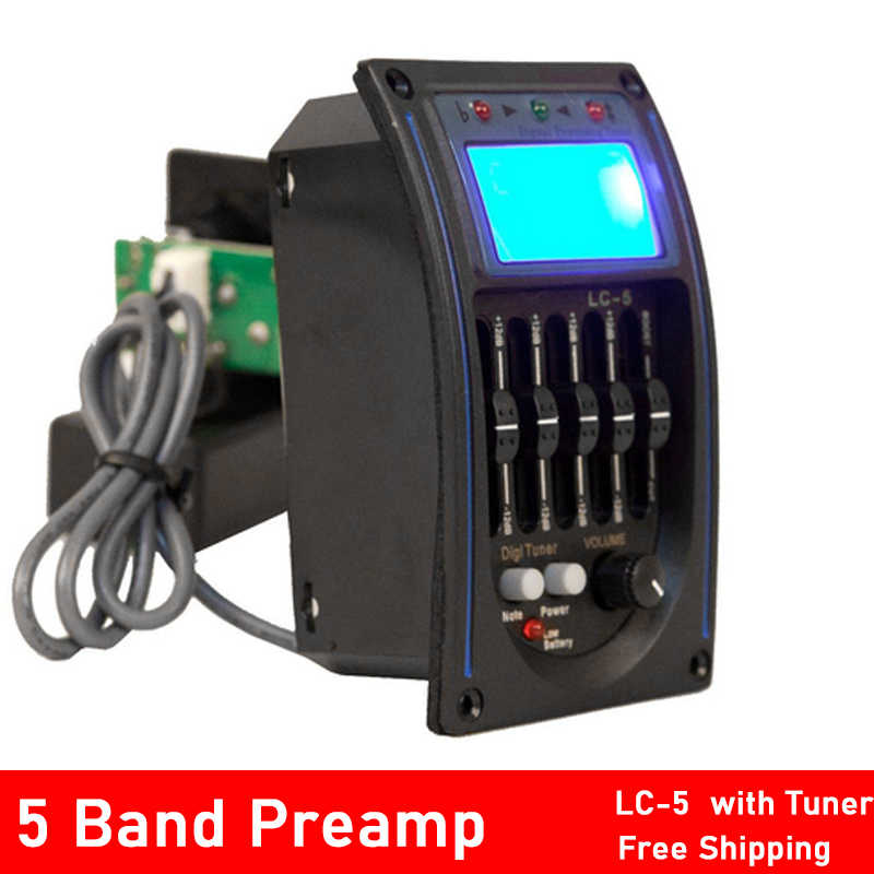 LC-5 5 العصابات الصوتية الغيتار بيك اب EQ Preamp LCD موالف بيزو بيك اب نظام التعادل