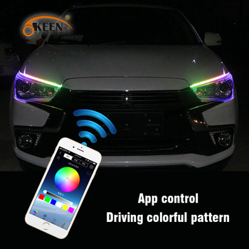 OKEEN 2pcs Car Sequential Flowing RGB Daytime Running Light DRL APP Multi Color LED Light Strip Turn Signal Lights For Headlight