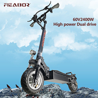 Patinete eléctrico para adultos con asiento, aeropatín plegable, neumático ancho, eléctrico, 2400W