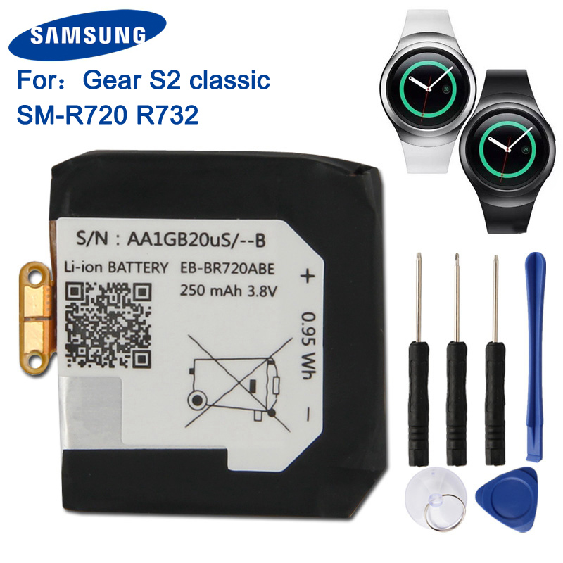 Samsung Original Replacement Battery EB-BR720ABE For Samsung Gear S2 Classic SM-R720 R720 R732 Smart Watch Battery 250mAh