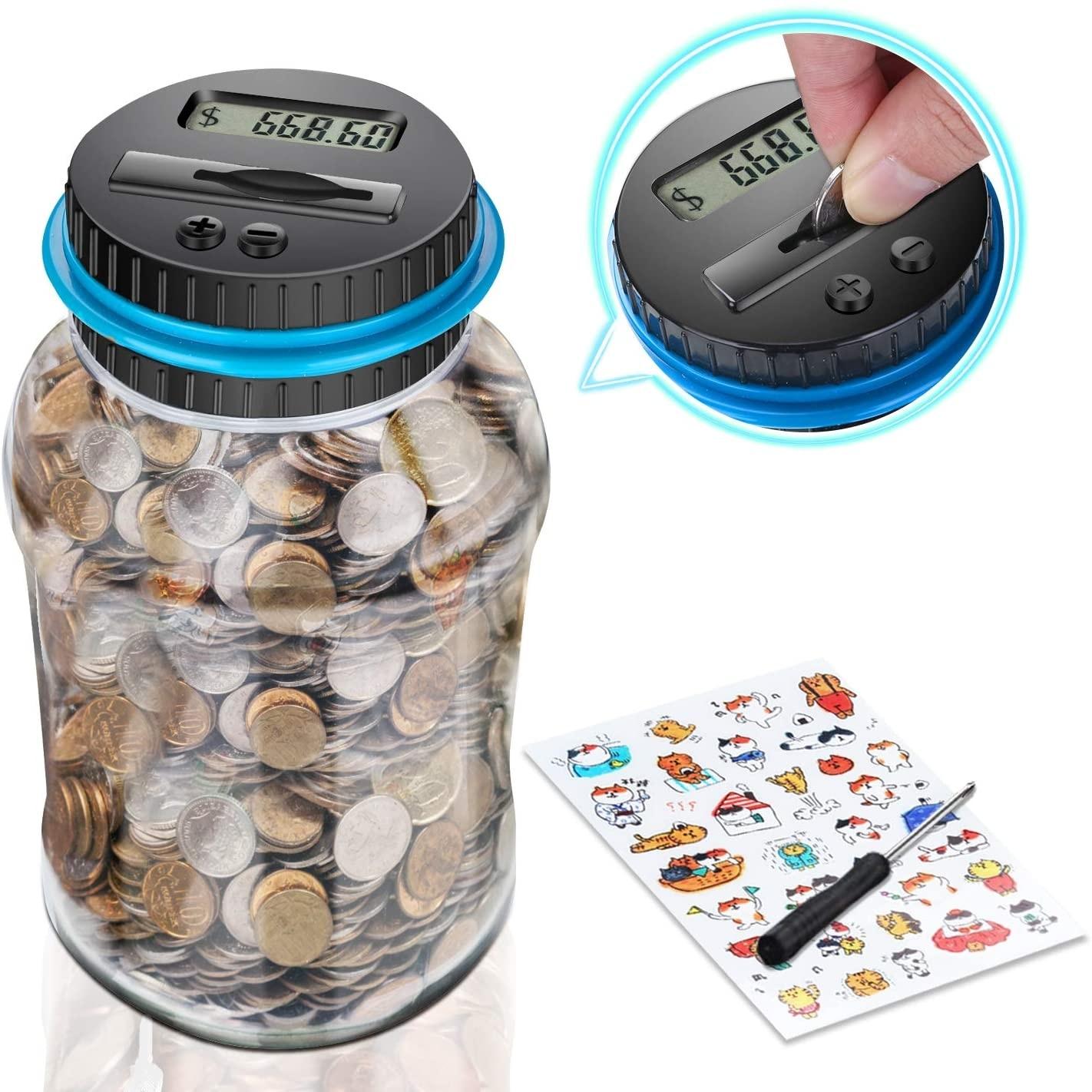 1,8l mealheiro contador moeda digital eletrônico lcd contando moeda caixa de poupança de dinheiro caixa de armazenamento de moedas jar 1.5l eur euro gbp dinheiro|Caixas de dinheiro|   -