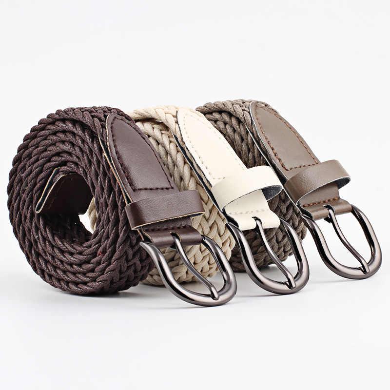103cm נשים למתוח טוויסט ארוג חגורת שעווה חבל קלוע חגורת אופנה מזדמן נקבה חגורת עבור ג 'ינס שמלת מתכת אבזם חגורות