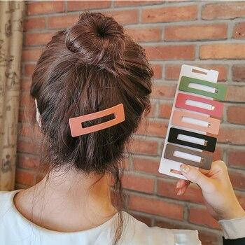 Новые одноцветные скрепки для волос из смолы геометрические полые квадратные заколки для волос новые модные аксессуары для волос для женщи...