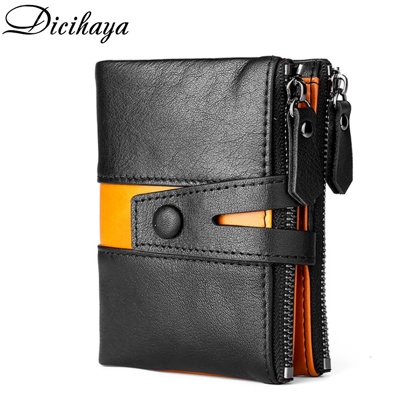 DICIHAYA NEW Splice 100% Genuine Leather Men Wallet Coin Purse Small Mini Card Holder Double Zipper Portomonee Male Walet Pocket