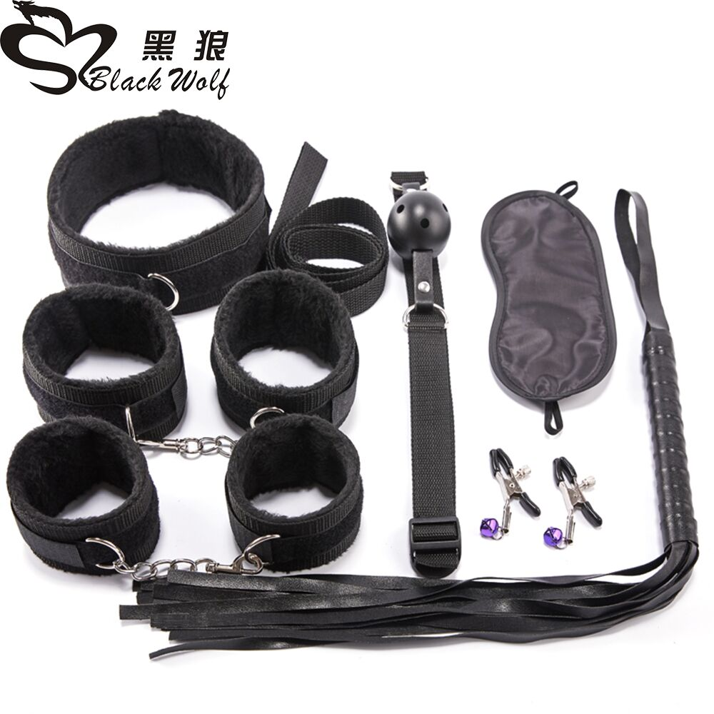 New 10Pcs Sex Products Erotic Toys for Adults BDSM Bondage Set Handcuffs Nipple Clamps Gag Whip Rope For Couples