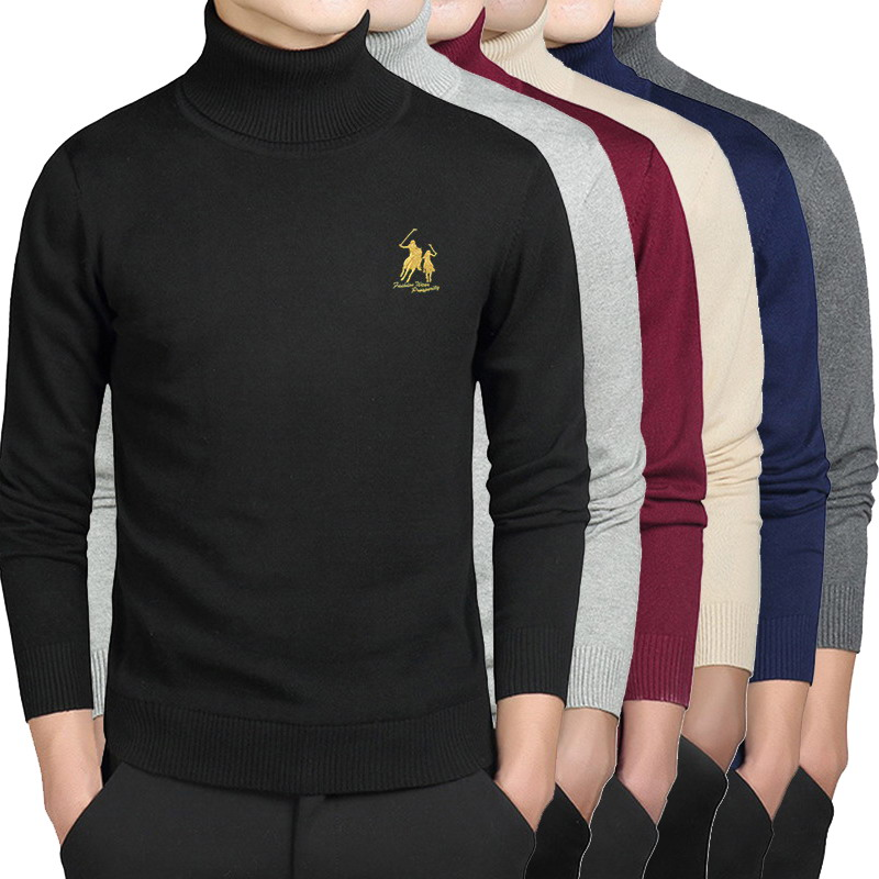 Spring Autumn High Neck Multiple 6 Colors Turtleneck Knitted Pullovers Men's Cotton Sweaters Embroidered Polo Logo