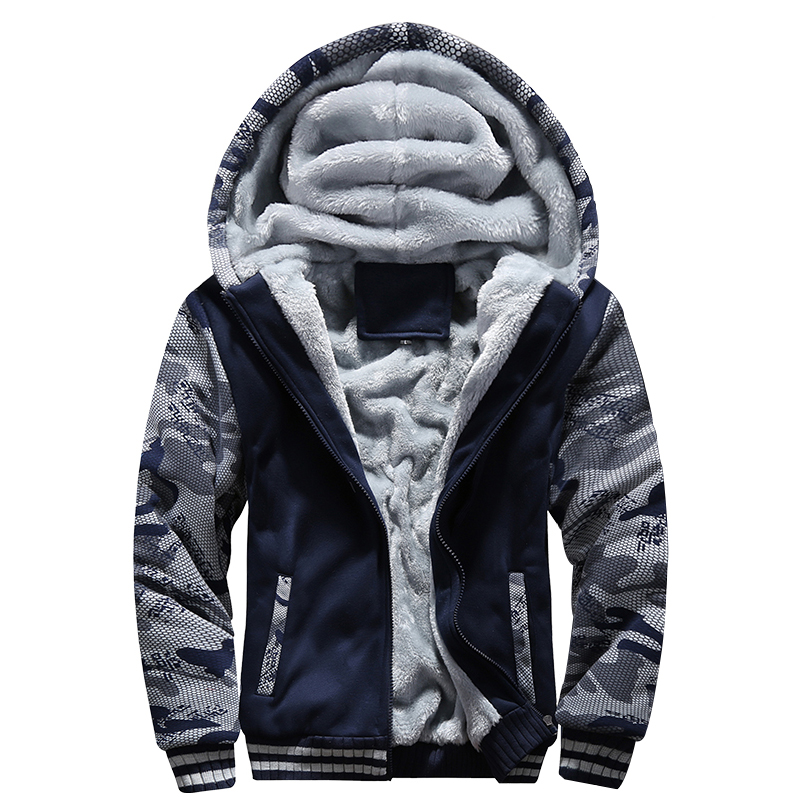 Jacket Men Warm Fleece Parkas Outwear Winter Mens Zipper Hooded Thicken Coat Streetwear Fitness Camouflage Coat Men Clothing 5XL