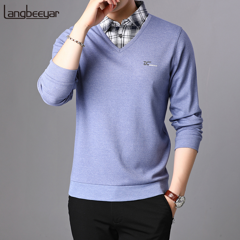 2020 New Fashion Brand Sweater Men Pullover Shirt Collar Slim Fit Jumpers Knitwear V Neck Winter Korean Style Casual Men Clothes