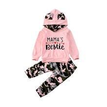 Lioraitiin 0-24m 2 pçs bebê recém-nascido roupas da menina do bebê conjunto rosa com capuz topos calças de camuflagem roupa de algodão menina agasalho