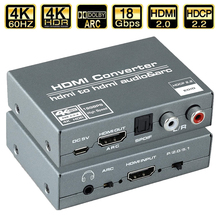 Navceker HDMI 2.0 ekstraktor Audio HDMI do RCA 4K 60Hz YUV4:4:4 HDR HDMI konwerter Audio Adapter 4K HDMI do optycznego TOSLINK SPDIF