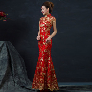 Image 1 - Red Chinese Wedding Dress Female Long Short Sleeve Cheongsam Gold Slim Chinese Traditional Dress Women Qipao for Wedding Party