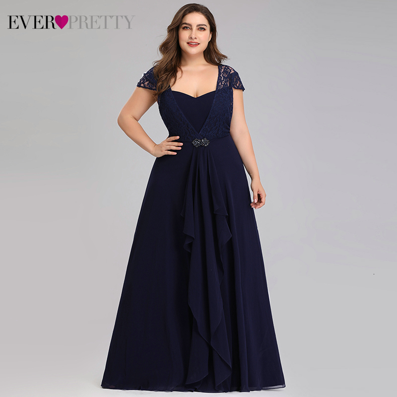 Plus Size Lace Mother Of The Bride Dresses Ever Pretty EP07986NB A-Line Sweetheart Cap Sleeve Kurti Dinner Gown Abito Sposa 2020