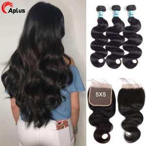 Body Wave Bundles With Closure 5x5 Lace Closure With 3 Bundles Peruvian Human Hair Bundles With Pre Pluck Lace Closure Remy Hair