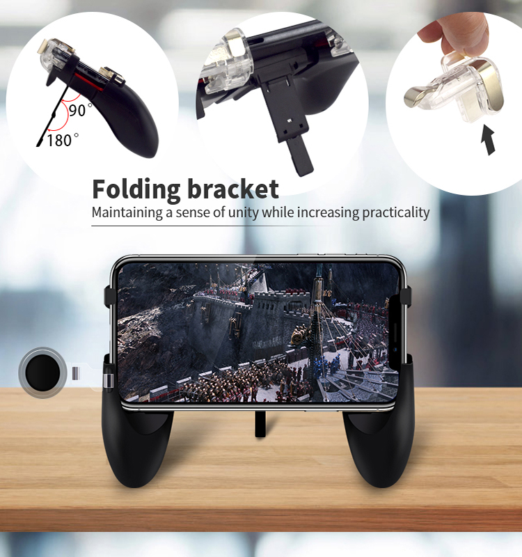 Data Frog Portable Gamepad Mobile Controller with Four Finger Operation Mode and Two Triggers for PUBG 4