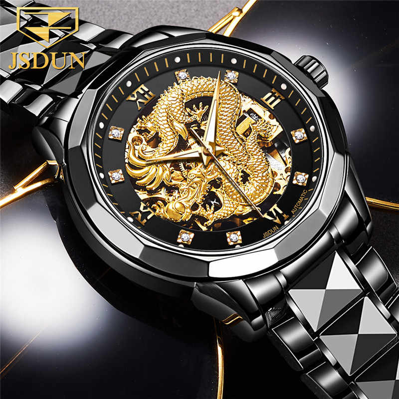 OLEVS มังกรทองประติมากรรมกลไกนาฬิกาอัตโนมัติ Men นาฬิกากันน้ำนาฬิกาข้อมือนาฬิกาควอตซ์ Relojes Hombre 8840