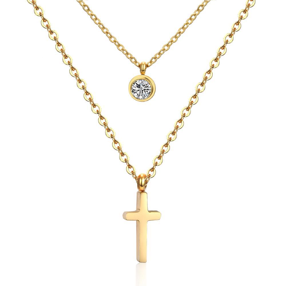 LUXUKISSKIDS CZ Choker Gold Necklace Set Stainless Steel Chain Pendants Necklaces Set For Men Women Girls Cross Pendant Jewelry