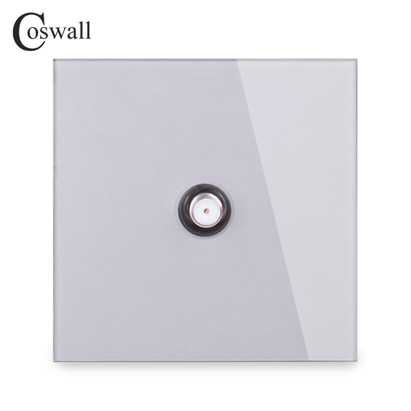 COSWALL Crystal Tempered Glass Panel Wall Socket 1 Gang Satellite Outlet R11 Series Grey Gray Color