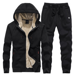 Nieuwe Winter Trainingspakken Herenkleding Dikker Fleece Hoodies + Broek Pak Sweatshirt Sportkleding Set Mannelijke Casual Suits Maat L-4XL